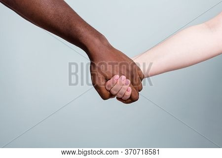 Closeup Photo Of Two Hands Arms Different Race Multinational Couple Best Friends Anti Racism Issue H