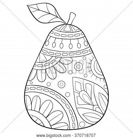 A Cartoon Fruit With Ornaments Image For Relaxing Activity,zen Art Style Illustration For Print.adul