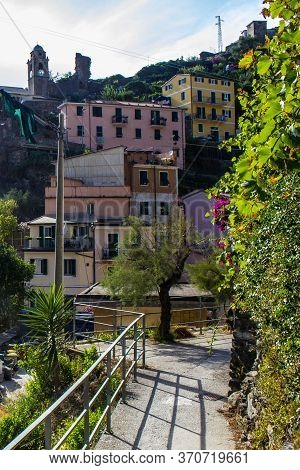 Vernazza, Italy - July 8, 2017: View Of Traditional Old Houses In Vernazza Town On A Sunny Day