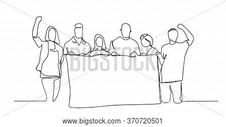 People Holding A Blank Paper Roll. Continuous One Line Drawing, Vector Illustration. Continuous One