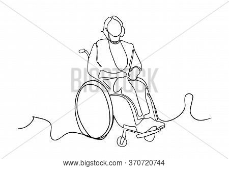 One Line Drawing Of A Old Patient With Wheelchair In Hospital - Continuous Line Drawing Vector. Cont