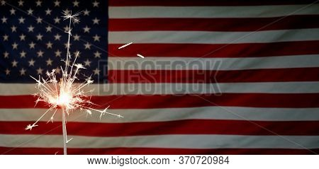 American National Holiday. Us Flags With American Stars, Stripes And National Colors. Independence D