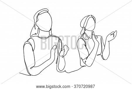 Women Applaud. Line Drawing Vector Illustration. Business Women In A Mitting Clapping. One Continuou