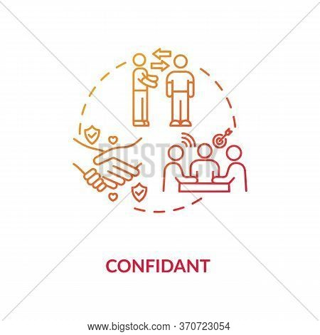 Confidant Concept Icon. Professional Mentoring, Business Partnership, Coworking Idea Thin Line Illus