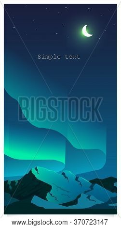 Aurora Borealis Phenomenon Flat Color Vector Background With Text Space. Northern Lights In Sky And