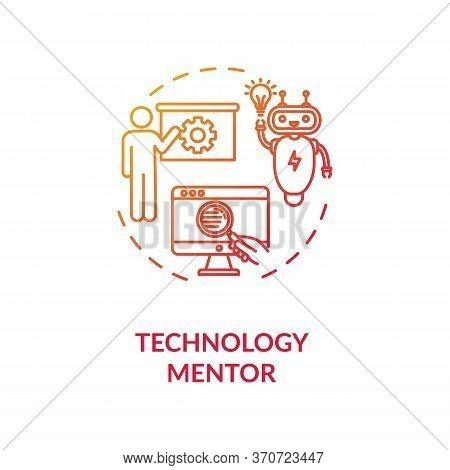 Technology Mentor Concept Icon. Education In Modern Computer Technologies Idea Thin Line Illustratio