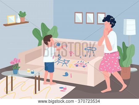 Child Mischief Flat Color Vector Illustration. Stressed Mother And Naughty Little Son 2d Cartoon Cha