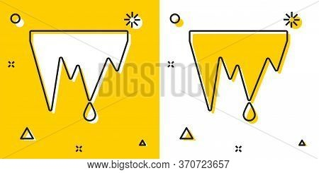 Black Icicle Icon Isolated On Yellow And White Background. Stalactite, Ice Spikes. Winter Weather, S