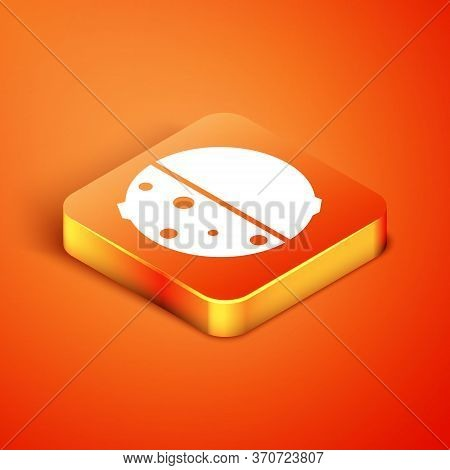 Isometric Eclipse Of The Sun Icon Isolated On Orange Background. Total Sonar Eclipse. Vector Illustr