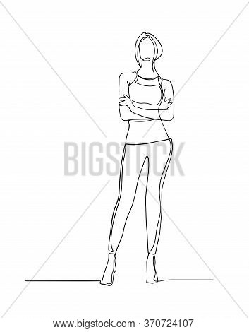 Continuous Line Drawing Of Standing Woman. Continuous Line Drawing Of Standing Confident Woman With