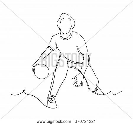 Basketball Player During Match Game, He Dribbling A Ball. Continuous Single Line Drawing Vector Illu