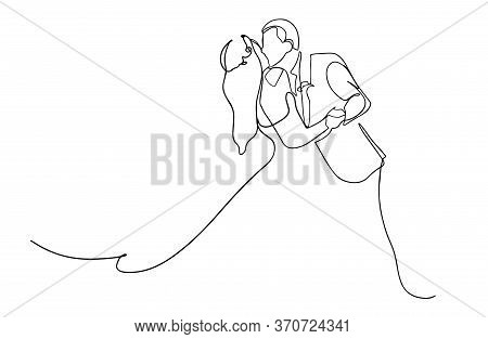 One Continuous Drawn Line Wedding Drawn From The Hand Picture Silhouette. Line Art. The Characters O