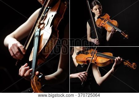 With Female Musician Playing Symphony On Violin Isolated On Black