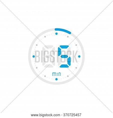 5 Minute. Timer, Clock, Stopwatch Isolated Blue Icons On White Background. Vector