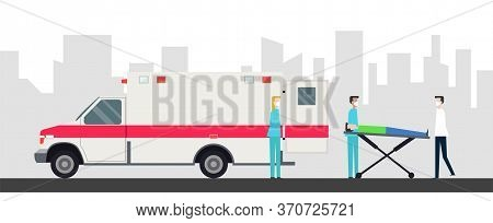 Rescue Team Provides First Aid. Ambulance Concept In Flat Style Isolated. Young Doctor Paramedic Man