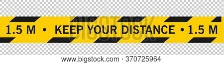 Keep Your Distance Social Distancing Floor Marking Security Stripe Instruction Icon. Vector Image. K
