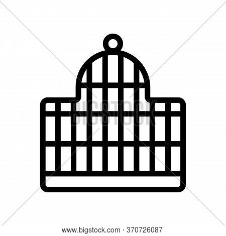 Cage For Star Finch Bird Icon Vector. Cage For Star Finch Bird Sign. Isolated Contour Symbol Illustr