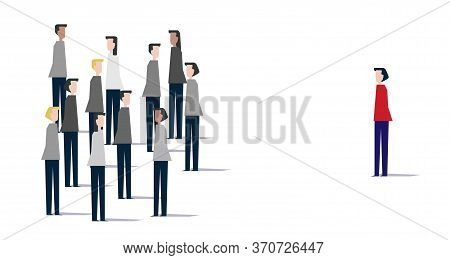 Team Leader Concept Illustration - Crowd Of Figures With The Red Leader. Crowd Of People. Be Differe