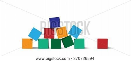 Empty Stack Of Cubes For Creative Design. Scattered Colorful Blocks, Place For Text. Variety Colorfu