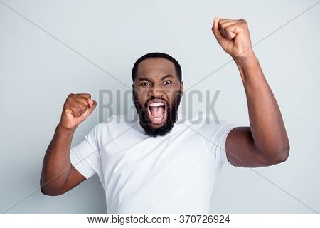 Photo Of Rage Mad Outraged Dark Skin African Guy Protester Community Protest Yelling Angry Raise Fis