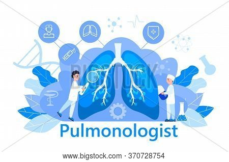 Pulmonologist Concept Vector. Pulmonary Fibrosis, Tuberculosis Illustrtion. Pneumonia, Lung Diagnosi