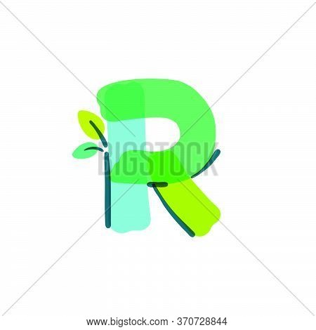 R Letter Logo With Green Leaf Handwritten With A Felt-tip Pen. Vector Bold Marker Font Can Be Used F