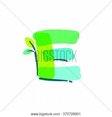 E Letter Logo With Green Leaf Handwritten With A Felt-tip Pen. Vector Bold Marker Font Can Be Used F