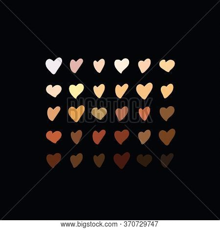 Raised Hearts Of Different Race Skin Color.vector Illustration. Hearts With Skin Color Diversity Vec