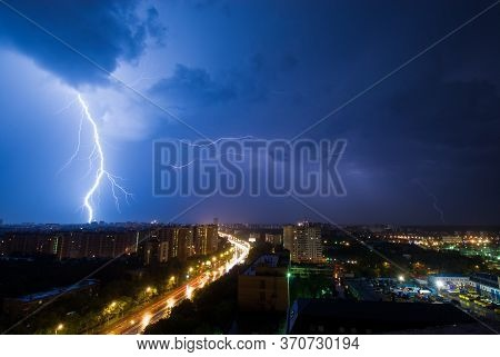 Powerful Lightning Discharge Over The Outskirts District Of Moscow