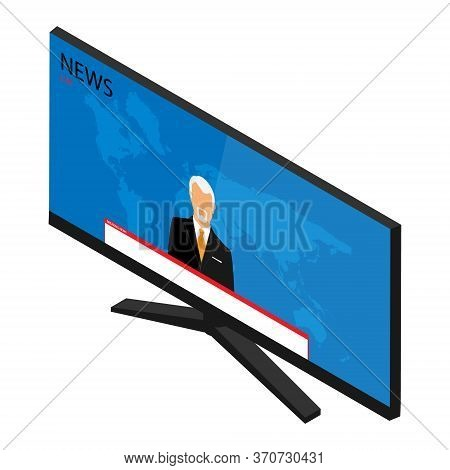 Vector Illustration Anchorman On Tv Broadcast News. Media On Television Concept. Breaking News. Tv N