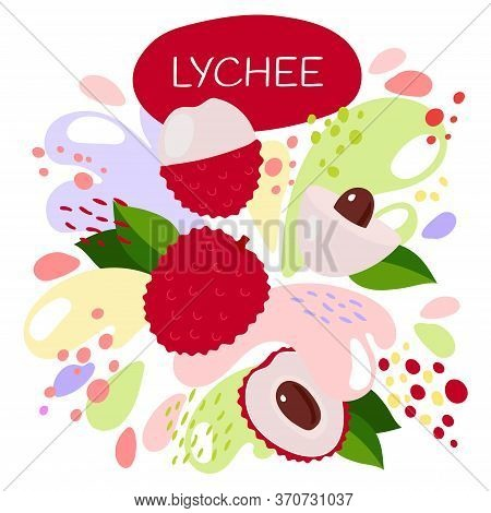 Vector Illustration Of An Organic Fruit Drink. Ripe Lychee Fruits With Splash Of Bright Fresh Lychee