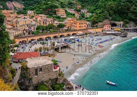 Monterosso Al Mare / Italy - May 28 2018: View Of The Village And The Beach. Monterosso Is The Weste