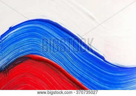 Russian Flag In Acrylic Close-up. Smears In The Colors Of The Russian Tricolor. Russia Day On June 1
