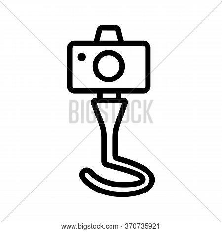 Digital Photo Camera On Tripod Icon Vector. Digital Photo Camera On Tripod Sign. Isolated Contour Sy
