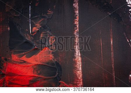 Black And Red Hand Painted Acrylic Background. Grunge Acrylic Texture With Painted Dots And Brush St