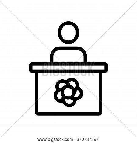 Flower Shop Seller Icon Vector. Flower Shop Seller Sign. Isolated Contour Symbol Illustration
