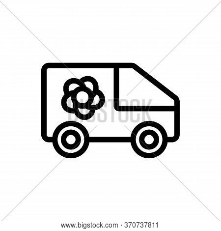 Flower Shop Delivering Truck Icon Vector. Flower Shop Delivering Truck Sign. Isolated Contour Symbol