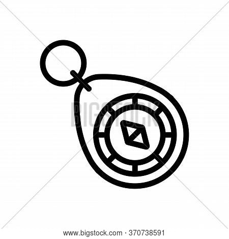 Compass Trinket Icon Vector. Compass Trinket Sign. Isolated Contour Symbol Illustration