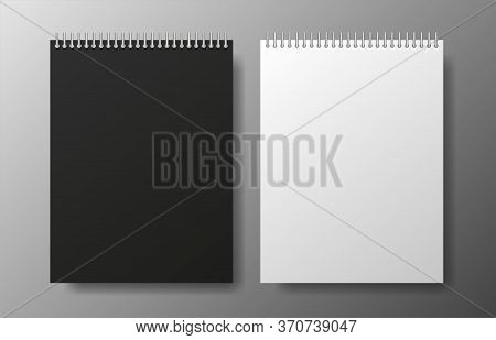 Realistic Blank Black And White Copybook On Gray Background. Notebook Vector