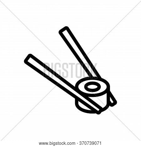 Chopstick With Sushi Roll Icon Vector. Chopstick With Sushi Roll Sign. Isolated Contour Symbol Illus