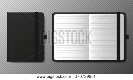 Realistic Blank Black Open And Closed Copybook Template With Elastic Band And Bookmark On Transparen