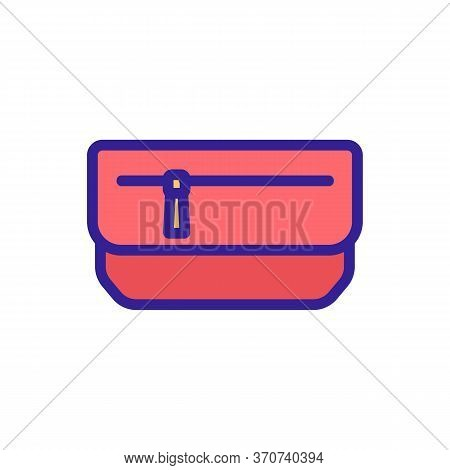 Wallet With Zipper Icon Vector. Wallet With Zipper Sign. Isolated Color Symbol Illustration