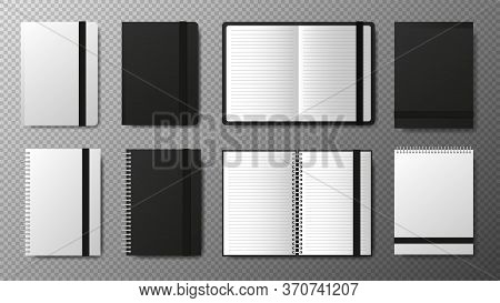 Big Collection Realistic Blank Black Open And Closed Copybook Template With Elastic Band And Bookmar
