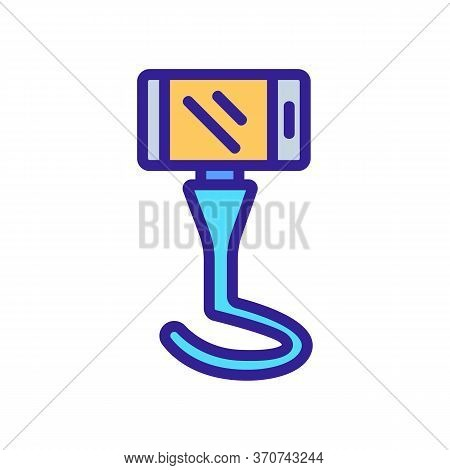 Phone On Portable Selfie Tripod Icon Vector. Phone On Portable Selfie Tripod Sign. Isolated Color Sy