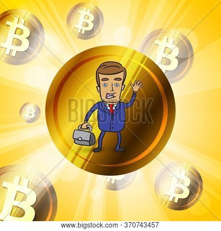 Happy Young Businessman With Golden Bitcoin Cryptocurrency In Br