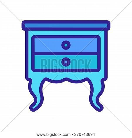 Nightstand Old-fashioned Style Icon Vector. Nightstand Old-fashioned Style Sign. Isolated Color Symb