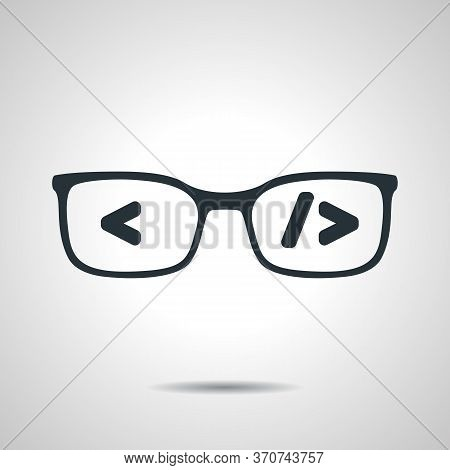 Flat Black Glasses With Code. Coder Or Programmer Symbol. Concep