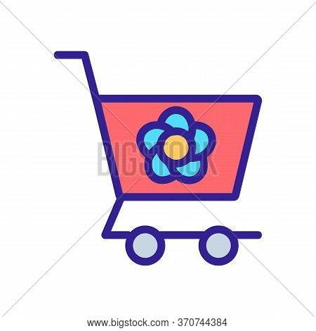 Flower Shop Carriage Cart Icon Vector. Flower Shop Carriage Cart Sign. Isolated Color Symbol Illustr