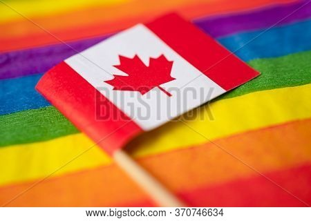 Canada Flag On Rainbow Background Symbol Of Lgbt Gay Pride Month  Social Movement Rainbow Flag Is A