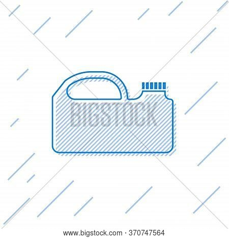 Blue Line Plastic Canister For Motor Machine Oil Icon Isolated On White Background. Oil Gallon. Oil